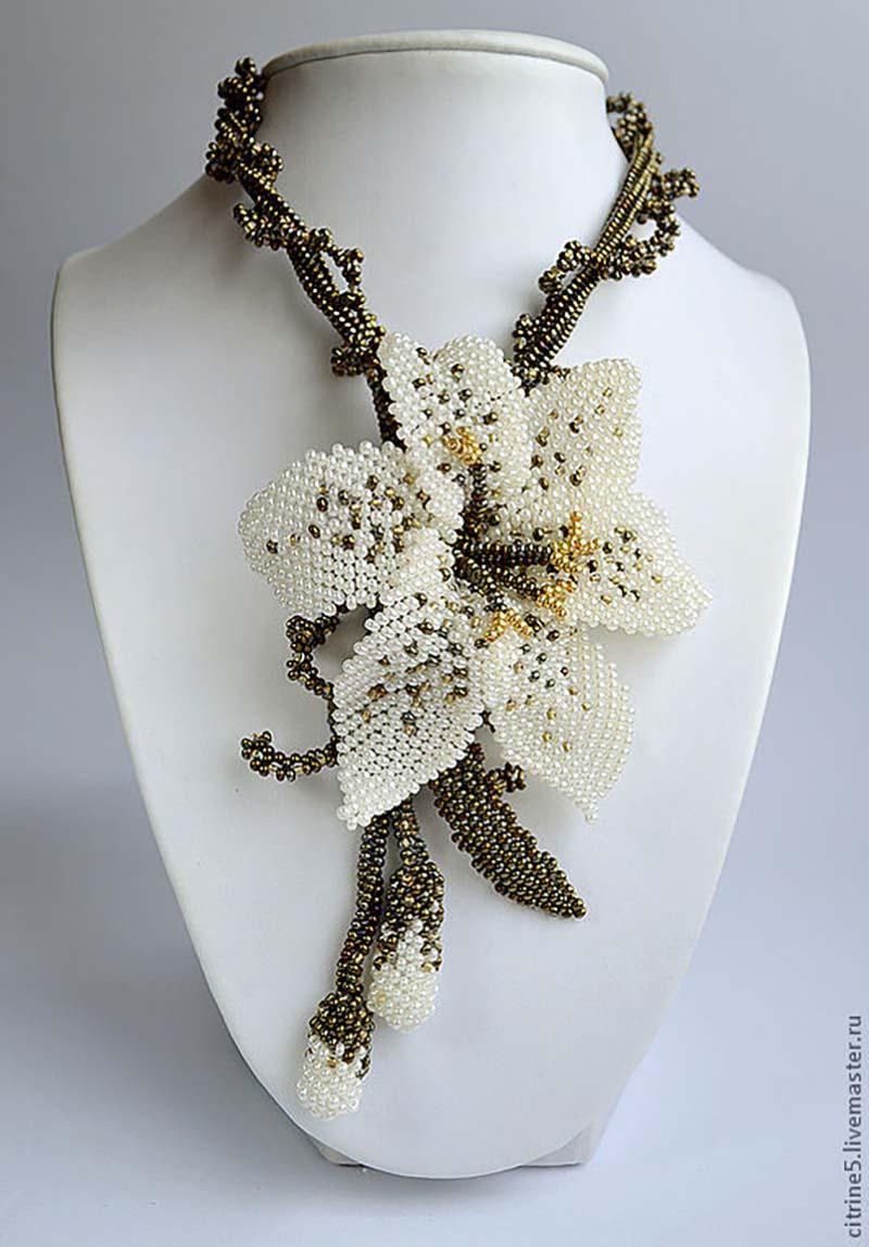 Колье цветы из бисера мастер класс с пошаговым