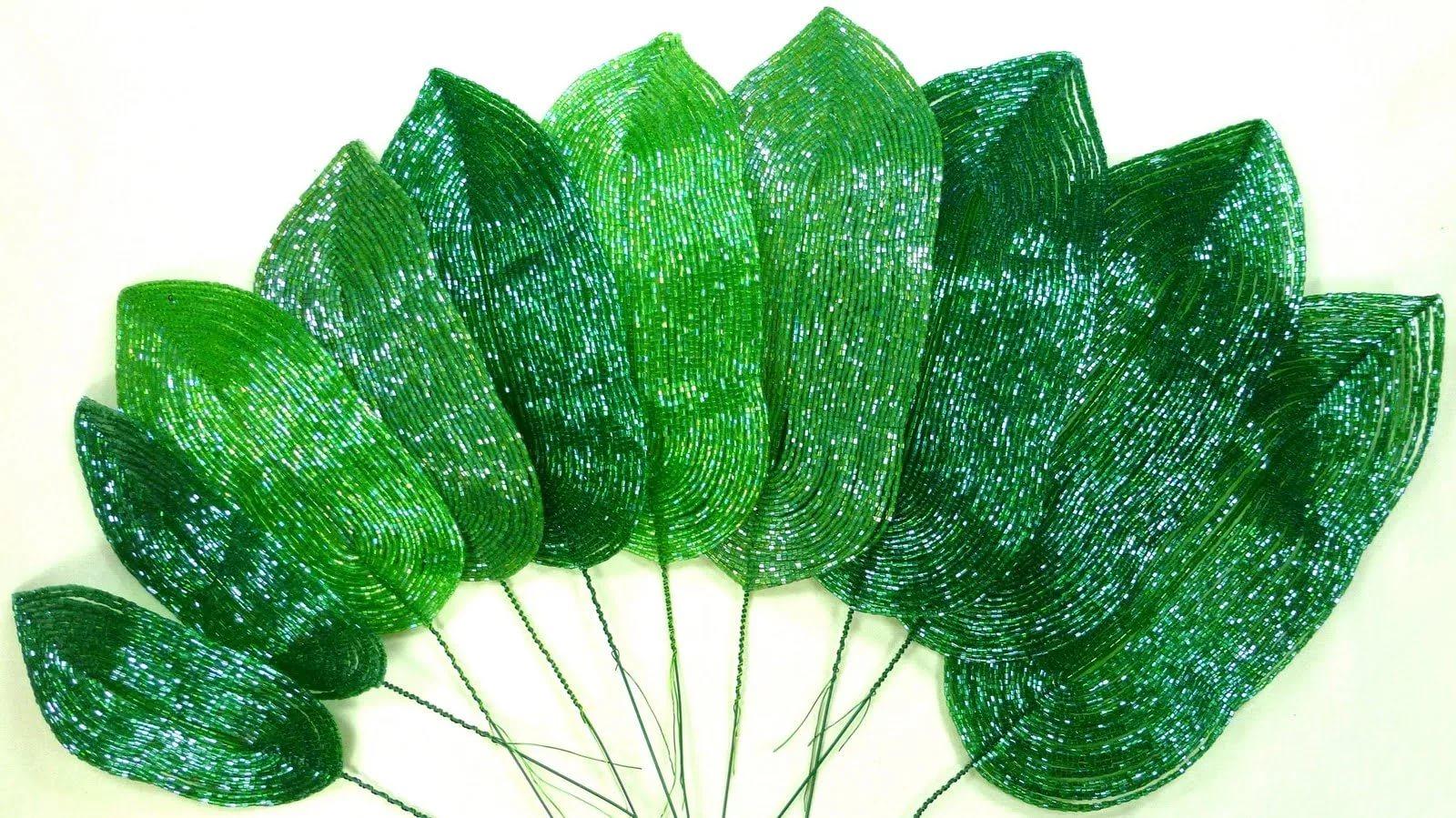 Листья из бисера мастер класс с пошаговым фото