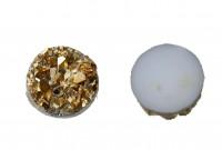 Кабошон круглый имитация хрусталя натурального (друзы), размер 83мм, цвет золотистый, смола, 2006-017, 4шт