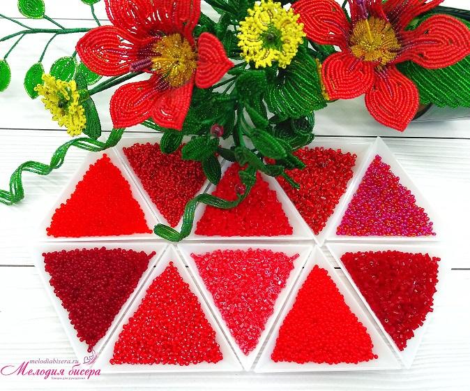 Красный набор бисера