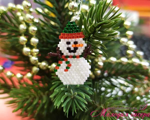 Снеговичок из бисера
