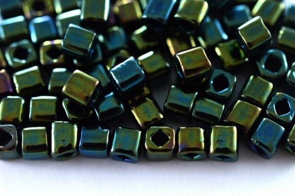 Купить Бисер японский TOHO Cube кубический 4мм #0084 зеленый/коричневый, металлизированный ирис, 5 грамм