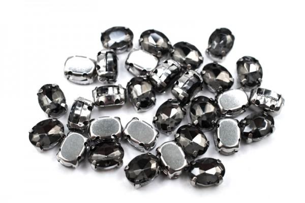 Купить Кристалл Овал 8x6мм пришивной в оправе, цвет серый, стекло, Китай, 43-109, 2 штуки