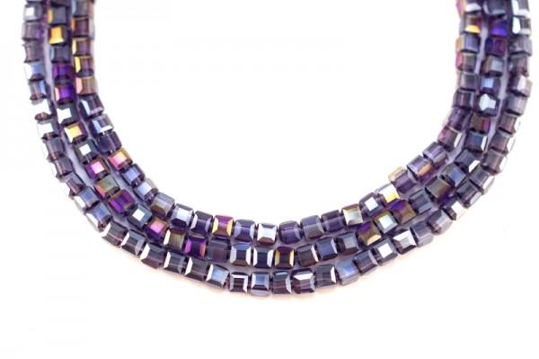 Купить Бусина стеклянная кубическая 4x4мм, цвет аметист, гальваническое покрытие, отверстие 1мм, 542-013, 10шт