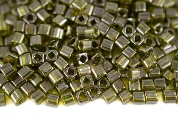 Купить Бисер японский TOHO Cube кубический 4мм #0457 зеленый чай, золотое сияние, 5 грамм