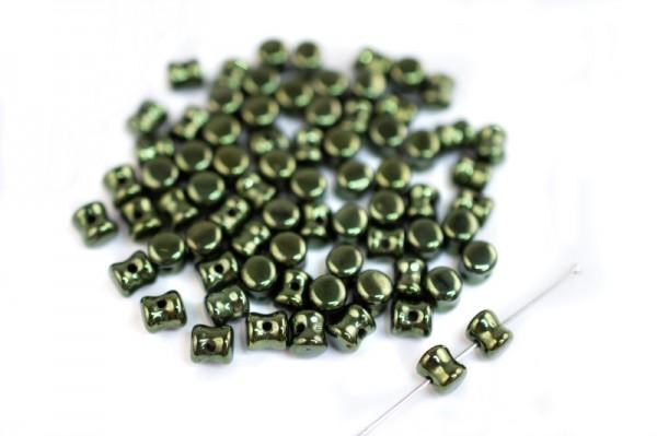 Купить Бусины Pellet beads 6х4мм, отверстие 0,5мм, цвет 23980/14495 зеленый блестящий, Preciosa Чехия, 732-008, 10 грамм (~60шт)