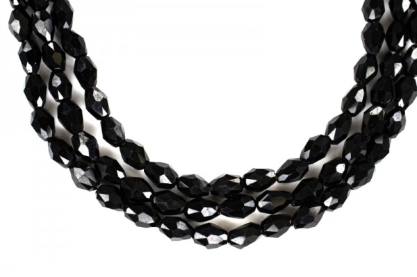 Купить Бусина стеклянная граненая Капля 6х4мм, цвет черный, непрозрачная, 503-055, 20 штук