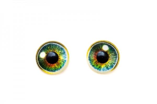 Купить Кабошон стеклянный круглый с принтом Глаз, 12*4мм, оттенок зеленый/черный, 2030-042, 2шт
