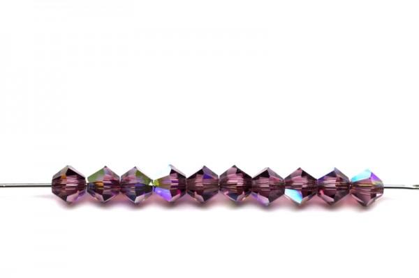 Хрустальные бусины - Биконусы - - 4mm - - (в одной упаковке 720 шт.) - - amethyst AB